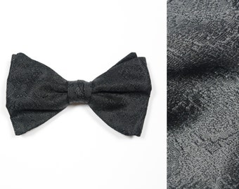 mens vintage bow tie 70s black brocade bow tie large clip on bowtie After Six tux tuxedo formal 1970 style vintage mens neckwear