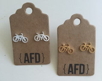 Bike bicycle post earrings | gold and silver plated jewelry | bridesmaids gift