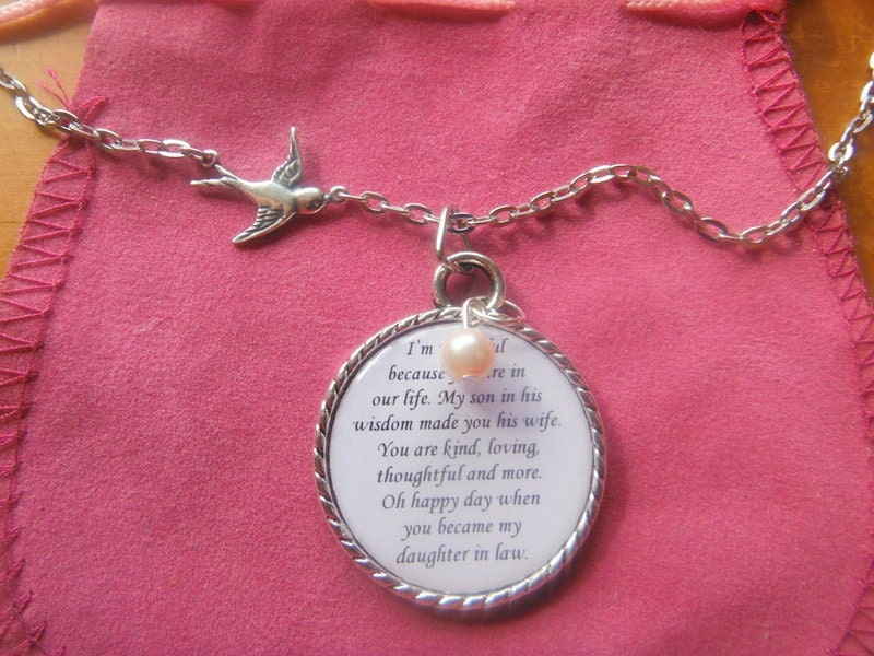 Daughter In Law Necklace Pendant Wedding Gift By