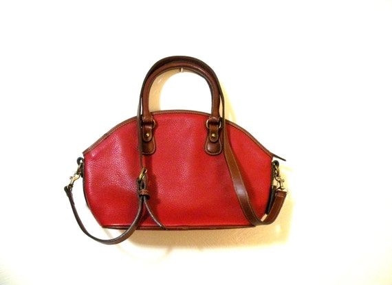 Coach Red Pebbled Leather Shoulder/Hand Bag- Affordable Vintage Purse 4228- Leather Handles