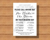 Wedding Day Contact Sheet, Please Call Anyone but the Bride or Groom on their Wedding Day Contact List, Printable Wedding Day Contacts