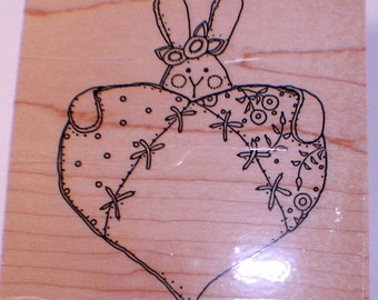 Annette Allen Watkins Country Heart And Stitched Bunny J1147 Wooden Rubber Stamp