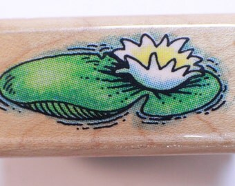 Fun Stamps Lilly Pad Garden Pond Wooden Rubber Stamp