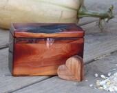 Set Live Edge Manzanita Wood Box Set with Wooden Heart