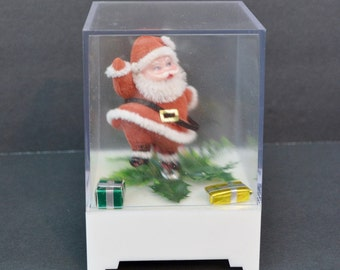"""Vintage Dancing Santa Claus Music Box Plastic Red White Flocked Holly Gifts """"Santa Claus Is Coming to Town"""""""