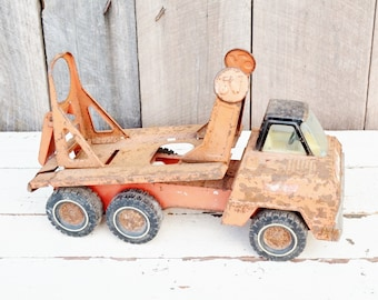 Orange Nylint Cement Truck Vintage Metal Toy Construction Vehicle Repurpose Parts Garden Decor Planter Chippy Rusty 1970's
