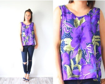20% OFF HALLOWEEN SALE Vintage purple floral tank top // tropical Hawaiian print tank top // vacation Boho // floral tank top multicolored t