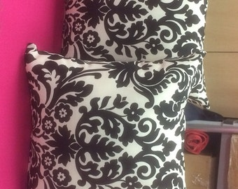 Black and Beige  Damask Pillow 16 x 16 inserts included