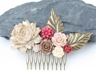 Burgundy and gold hair comb, Fall wedding hair comb, Bridal hair comb, Fall wedding accessories, wedding hair piece, rustic wedding, gift