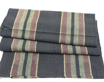 Japanese Artisan Hand Loomed Ikat. Vintage Cotton. Striped Indigo Folk Textile (Ref: 1173)