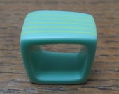 Turquoise resin ring/square ring/lime green stripes/sale/chunky ring/statement ring/contemporary ring/unusual ring/handmade resin ring