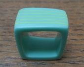 Résine turquoise bague carré bague/lime vert rayures/vente/grosse bague/déclaration anneau/contemporain Bague/anneau/résine bague originale