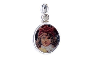 Broken China Jewelry Vintage Doll Red Hat Sterling Charm