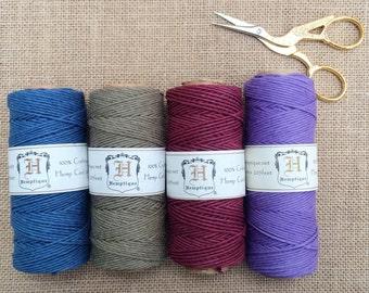 Hemp cord in a choice of 4 deep colours. 62 meters per reel.