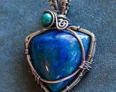 Azurite Malachite Silver & Copper Wire Wrapped Pendanr