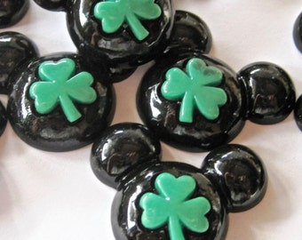 St Pat Clover Mouse Ears Cabochons Embellishment Lot of 2