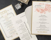 Menu Cards for Weddings, Bridal Showers, Rehearsal Dinner with Customizable Colors, Fonts, Materials & Wording, Luxury Backing Paper, Ribbon