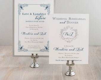 "Navy Rehearsal Dinner Invitations, Blue/Silver Wedding Rehearsal Invites Wording, Monogram - Customizable Wording/Ink/Font - ""Classic Love"""