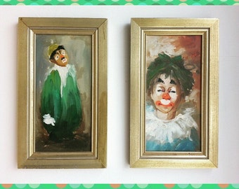 Classic Pair of Original Framed Clown Paintings