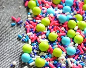 SALE Sprinkles Mix - CONFETTI MIX- 3oz Pink Aqua Purple Lime and White Sprinkles- Cake Decorating Supplies