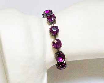 Bracelet Red Violet Purple Rhinestone Cup Chain Links Silver Tone Vintage Wedding Jewelry Jewellery Accessories Gift Guide Women