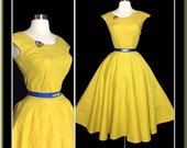 Vintage 1950s Dress//50s Skirt//Matching Top//Set//Rockabilly//Full Circle//New Look//Mod//Coronet Sportswear of Miami
