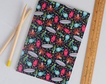 Aliens Notebook, SALE, A5 Space Themed Pattern Notebook, Lined Exercise Book, Childrens Alien Jotter, UFO Surface Pattern