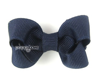 Small Hair Bow 2 Inch in Navy Blue- Toddler Hairbow Non Slip Alligator Clip - for Baby Girls