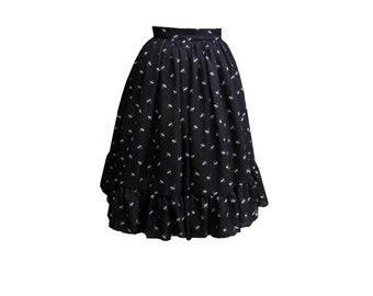 1950's style tea length black cat chiffon skirt