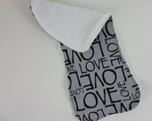 baby burpie with love jersey print and reverse side absorbent terry cloth in your color choice. baby shower gift burp cloth.