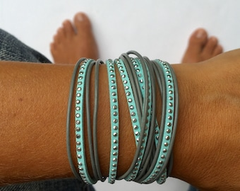 triple wrap bracelet in gray and aqua with silver accents. lobster clasp with heart drop. Bohemian jewlery. Bridesmaids bracelet