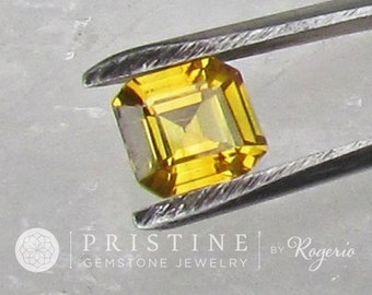 Asscher Cut Yellow Sapphire Over 2 Carats for Custom Engagement Ring or Jewelry September Birthstone