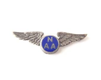 NAA Wings Pin Sterling Silver National Aeronautic Association Civilian Aviation World War II Era Lapel Pin Signed LGB by L.G. Balfour Co.