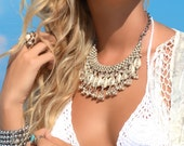 Boho Statement Necklace Beach Boho Necklace Beach Wedding Shell Cowrie Beach Boho Wedding Bohemian Necklace Bohemian Jewelry Gift for Her