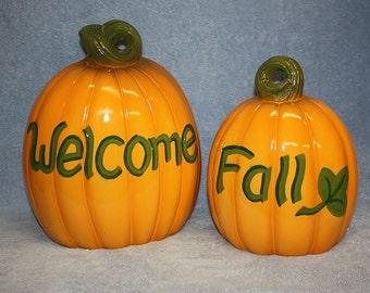 Ceramic glazed Pumpkin Set includes one large Welcome Pumpkin and one Medium Fall Pumpkin