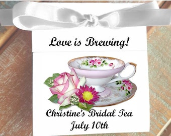 Personalized Tea Bag Party Favors Henrietta Pink White Rose Teacup perfect for a Wedding or Bridal Shower Tea Party Favors