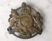 Vintage 50s Solid Brass Kings Coat of Arms Trivet England Lion & Unicorn