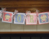 Gender Reveal Banner, Boy or Girl Baby Banner, Baby Shower Banner, Matching Poms Available