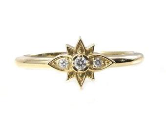 Tiny Diamond Flower Ring - Stacking 14k Yellow Gold