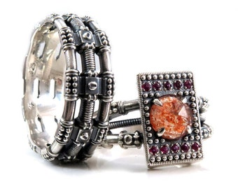 His and Hers Diesel Punk Wedding Ring Set - Sterling Silver with Sunstone and Rubies - Steampunk Engagement