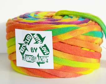Recycled T Shirt Yarn, Rainbow Bright Tie Dye 36 Yrds, T- Shirt Yarn, Tarn