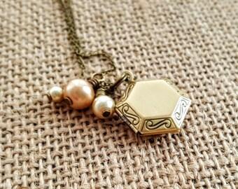 Long Locket Necklace - Bronze Locket - Bridesmaid Locket - Vintage Locket Necklace - Mothers Day Gift - Layering Locket - Pearls and Lockets
