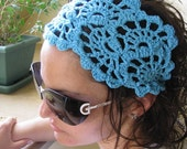 SALE 20% SALE Crochet Hairband-  Summer Hair Fashion Accessories - handcrochet bandana/headband in turquoise blue