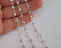 1 ft Solid Sterling Silver 925 Crystal CZ Elements Chain sold Bulk  1 cm spaced elements for designers