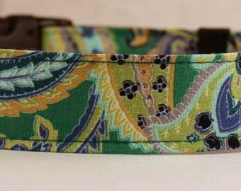 Dog Collar, Martingale Collar, Cat Collar - All Sizes - Green Paisley