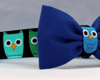 Dog Collar and Bow Tie - Owls