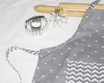 Dark Grey and White Triangles and Chevron Child Apron