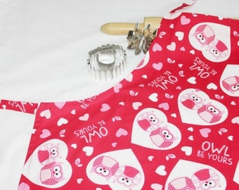 Owl Be Yours Valentines Day Adult Apron