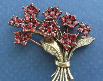 On Sale Trifari Flower Bouquet Brooch Sterling Silver Vermeil Red Rhinestones Antique Fur Clip Circa 1940 Art Deco Pin