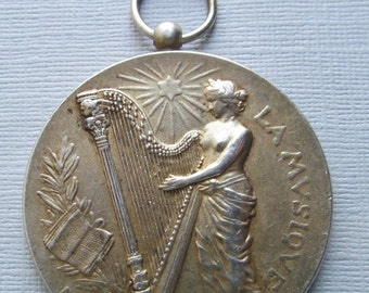 On Sale Art Nouveau Music Pendant, Lady With A Harp Antique French 950 Sterling Silver Art Medal Signed Rasumny Dated 1912   SS31